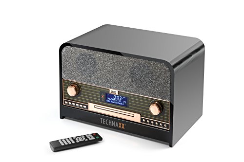 Technaxx Retro DAB+/FM stereo radio met cd-speler en USB TX-102 bluetooth opname afspelen, zwart