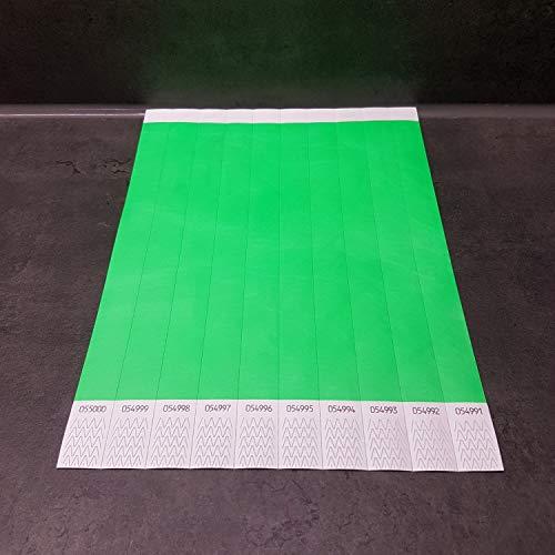 powerpreis24 22 versch Farben 100-500-1000 Stück Auswahl Einlassbänder Kontrollbänder Eintrittsbänder Partybänder Securebänder aus Tyvek (1000 Stück, Neon-Grün)