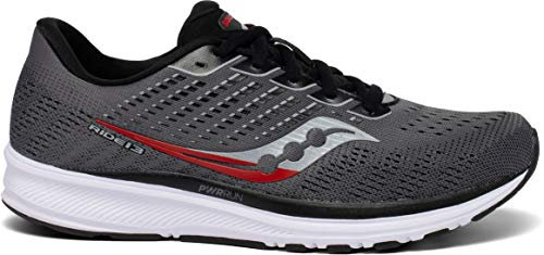 Saucony Men's Ride 13, Charcoal/Red, 8 D (M)