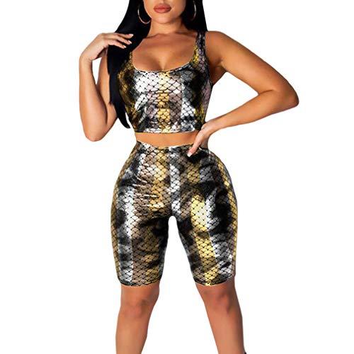 Kunfang Nuevos Trajes de Mujer Conjunto de 2 Piezas Sexy Impreso Escala de Pez Mágico Crop Tops y Bodycon Skinny Pants Mujeres Chándal