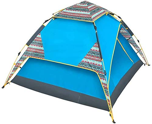 LAZ Pop Up Tent,3-4 People Family Rain-Proof Thickened Festival Tents Automatic Compact Double Layer Ultralight Beach Tent Sun Shelter Blue 210cm