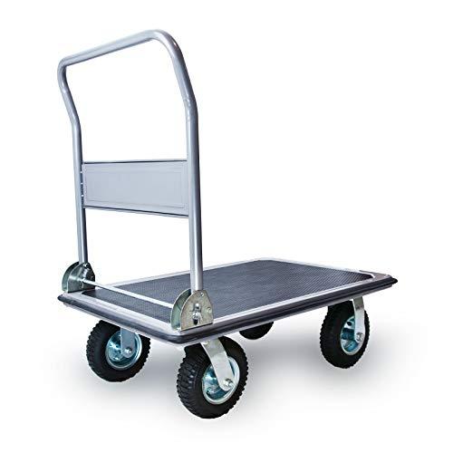 Grafner XXL Schwerlast Plattformwagen, bis 350 kg Tragkraft, luftbereifte Lenkrollen mit starkem Profil, Antirutsch-Beschichtung, hohe Belastbarkeit, klappbar, Transportwagen Transporthilfe Paketwagen