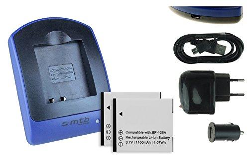 2 Baterìas + Cargador (USB/Coche/Corriente) IA-BP125A para Samsung HMX-M20, Q100, Q130, Q200, QF30, QF320, T10, T11 Ver Lista!