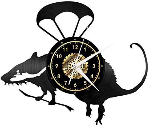 ZZLLL Reloj de Pared de Vinilo Reloj de ratón paracaídas Reloj de Pared de Vinilo Sala de Estar Dormitorio Reloj de Pared decoración del hogar Disfrutar tranquilamente en Silencio