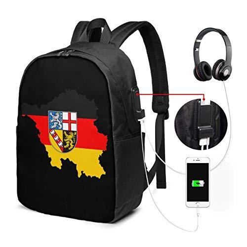 Unisex Rugzak met USB Opladen Poort Kaart met Duitsland Vlag Klassieke Mode Algemene Zakelijke Boekenkaart