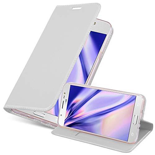 Cadorabo Funda Libro para Samsung Galaxy J7 2016 en Classy Plateado - Cubierta Proteccíon con Cierre Magnético, Tarjetero y Función de Suporte - Etui Case Cover Carcasa
