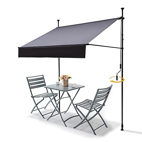 Klemmmarkise Markise Balkon (300 cm x 130 cm) Anthrazit mit Handkurbel, Sonnenschutz Balkonmarkise ohne Bohren, UV-beständig und höhenverstellbar, wasserdicht und einfache Montage