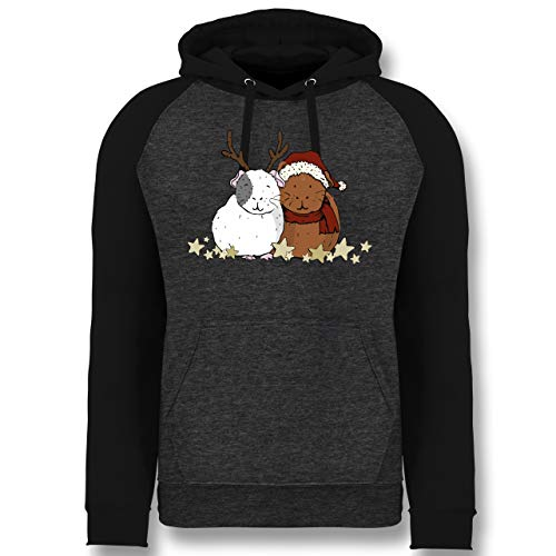 Weihnachten & Silvester - Weihnachtliche Meerschweinchen - XL - Anthrazit meliert/Schwarz - Meerschweinchen - JH009 - Baseball Hoodie