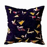 Fundas de almohada navideñas, fundas de almohada Fundas de almohada para el hogar, fundas de almohada para sofá, papel de origami colorido, patrón de pájaros de golondrina, siluetas multicolores, form