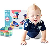 Huehaik 20-Pieces Newest Soft Safe Teething Building Blocks Set (Ages 6 Month Old and up)