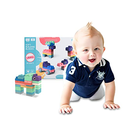 Newest Soft Building Blocks Set for Toddlers, Baby Ages 6 Month Old and up, Safe Teething, Learning Stacking Block Toys, Non Wooden Gift for Kids Girl   Boys (20pcs)