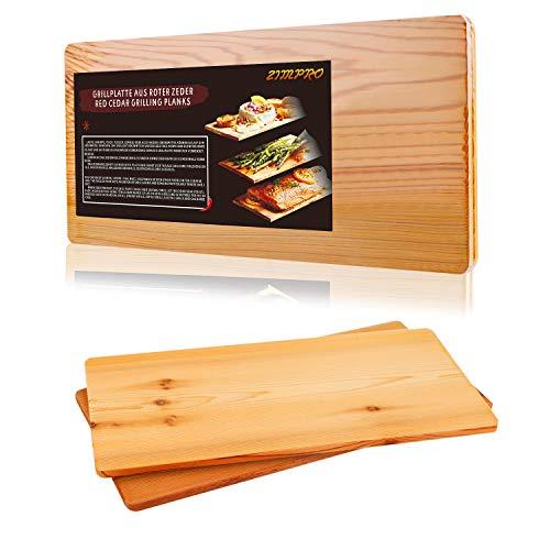 IZIMU Grillbretter,Zedernholzbrett zum Grillen,Räucherbretter aus Zedernholz hergestellt aus 100% natürlichem Red Zedernholz,Grillbretter BBQ (2er Set)