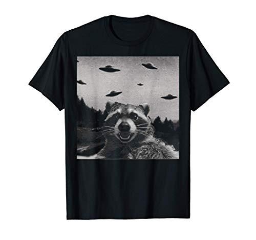 Alien UFO Funny Raccoon Maglietta