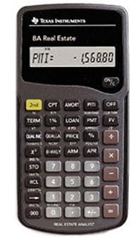 Texas Instruments BA Real Estate Financial Calculator