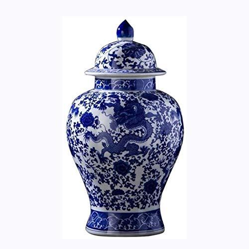 Jarrones WHLONG Azul Decorativo Azul y Blanco Porcelana Templo de cerámica jarrar Estilo Estilo China para la Oficina de la Sala de Estar