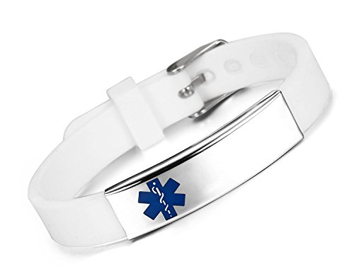JF.JEWELRY Custom Engraved Medical ID Alert Bracelet for Kids Silicone Band & Stainless Steel TagBlue Logo White Band Silicone Medical Alert Bracelet Adjustable