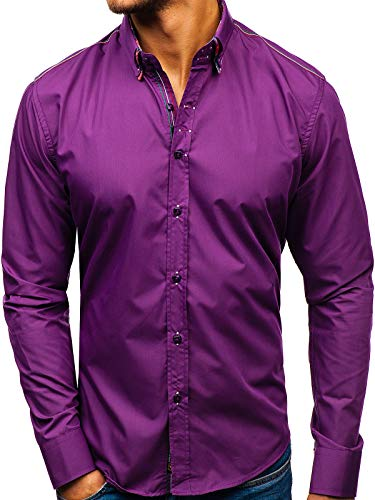 BOLF Hombre Camisa De Manga Larga 2705 Violeta M [2B2]