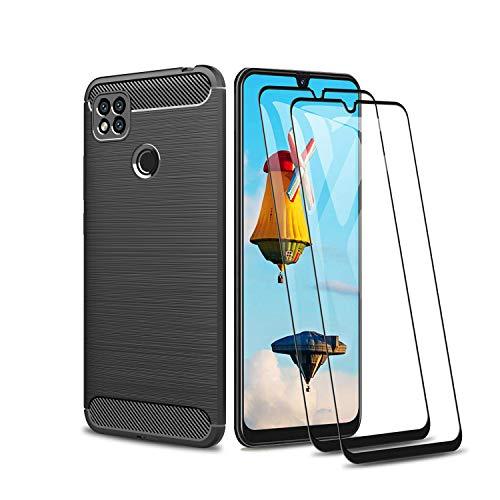 GOGME para Xiaomi Redmi 9C NFC Funda y 2 Piezas Cristal Templado, Cubierta Delgado de Silicona Funda Protective Case Cover, Carcasa Fibra TPU Protección Golpes Durable - Negro