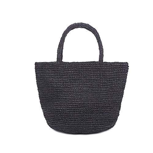 JIAGU Borsa da Donna in Paglia Casual Retro Tessuto Paglia della Borsa Giapponese Crochet della Mano Personalizzato Cestino di Verdure Bag (Color : Black, Size : One Size)