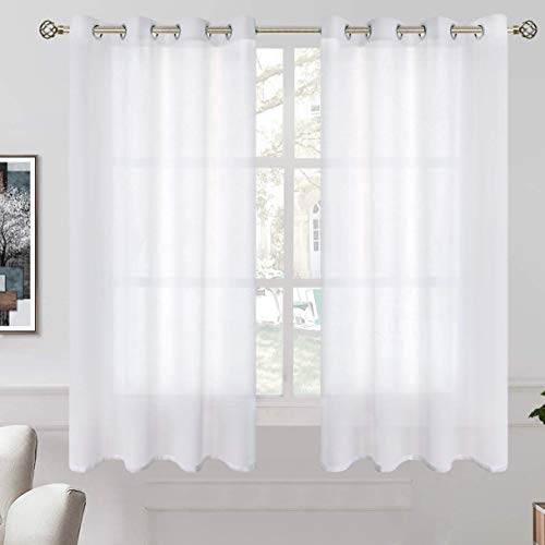 BGment Linen Look Semi Sheer Curtains for Bedroom, Grommet Light Filtering Casual Textured Privacy Opaque Sheer Curtains for Living Room, 2 Panels (Each 42 x 54 Inch, White)