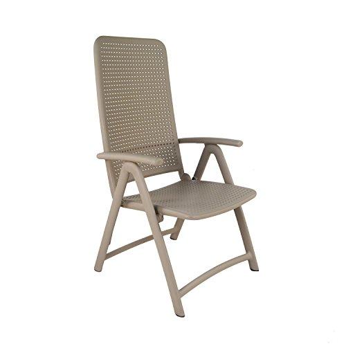 Nardi DARSENA Chair Turtle Dove Silla, Tortuga Paloma Gris, 64.5 x 59 x 113.5 cm