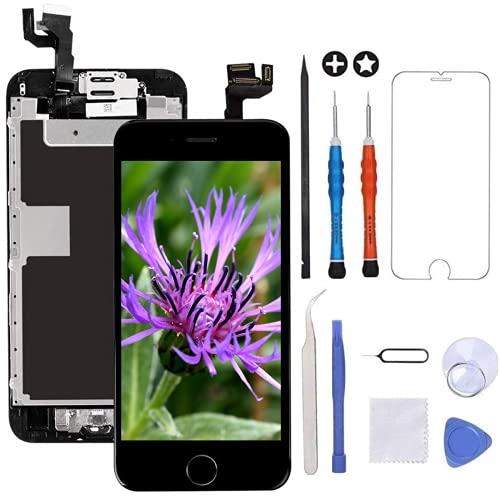 GULEEK Display per Nero iPhone 6s Schermo 4,7' LCD Touch Screen Digitizer Parti di Ricambio (con Home Pulsante, Altoparlante, Fotocamera,Sensore Flex) Strumenti Inclusi