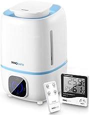 InnoBeta luchtbevochtiger Fountain 3,0 l, ultrasone luchtbevochtiger voor baby slaapkamer kinderkamer woonkamer planten, humidifier met hygrometer, timer, afstandsbediening (filter apart verkrijgbaar)