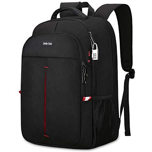 Della Gao Mochila antirrobo para portátil y viaje, mochila para hombre y mujer, resistente al agua, con conector de carga USB, mochila escolar, mochila multifunción para negocios, mochila de negocios