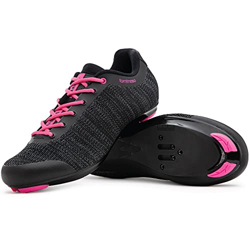 Tommaso Pista Aria Knit Women's Indoor Cycling Class Ready Shoe - Black/Pink - 40