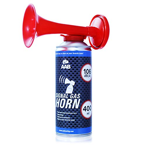 AAB Signal Gas Horn 400 ml – Laut Air Horn 106 dB(A), Tröten Fußball, Lufthorn, Vuvuzela, Pressluft Gashupe, Drucklufthupe, Druckluftfanfare - Wertpaket 4 Stück