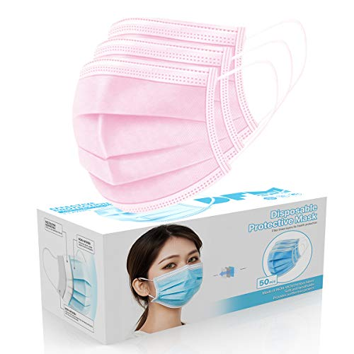 [50 Pc/Box] Face Mask Disposable Non Surgical 3-Ply Earloop Mouth Cover Masks- Pink (USA Seller in stock)