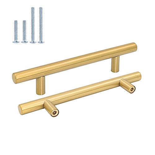 Goldenwarm 10x 128mm Küchengriffe Möbelgriffe Edelstahl Schrankgriffe - LS201GD128 Modern Griffe Stangengriff Schublade