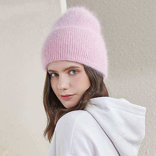 Sombreros de Invierno para Mujer Gorras largas y cálidas para Mujer Moda Colores sólidos puño Ancho Gorros de Estilo Joven-a9-52-58 CM
