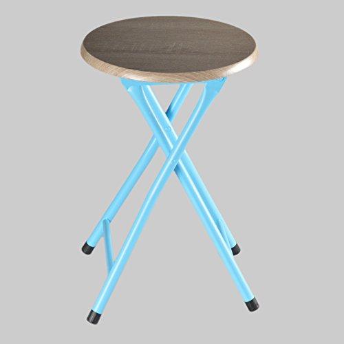 Riyashop RICO Sitzhocker Klapphocker Klappstuhl Platzsparend Shabby Chic Metall Klappsitz (Blau)