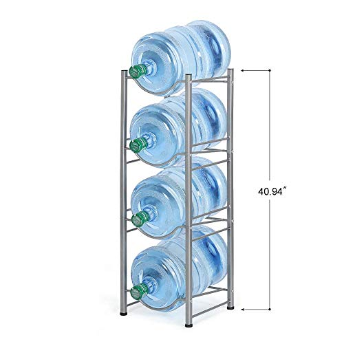 Water Cooler Jug Rack, 5 Gallon Water Jug Holder Water Bottle Storage Rack, 4 Tiers, Silver