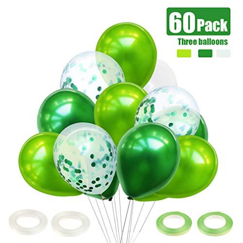 JOJOR Luftballons Grün,60 Stück Luftballons Grün Weiß Helium,Konfetti Grün Ballons für Hochzeit Geburstags Taufe Kommunion Dinosaurier Party Deko