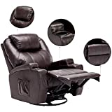 windaze Massage Recliner Chair, 360 Degree Swivel Heated Recliner Bonded Leather Sofa Chair with 8 Vibration Motors, Brown