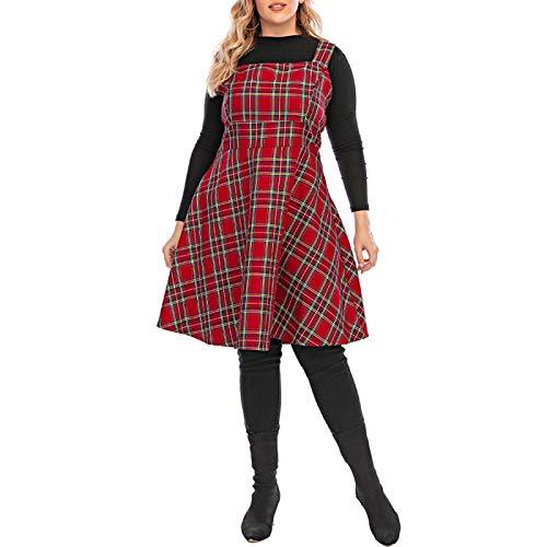 Falda Escocesa Scottish Skirt 6XL Tallas Grandes Vestidos De Tirantes A Cuadros para Mujer Vestido Midi De Otoño Sin Mangas Ropa De Gran Tamaño Mujer Moda Bata De Mujer 4