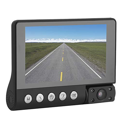 Cámara para salpicadero de coche, Lente gran angular de 170 ° de 3 vías 1080P Grabador de bucle de cámaras de salpicadero DVR para coche con pantalla IPS de 4 pulgadas, Soporte de vídeo HDR, Inversión