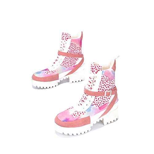 Cape Robbin Hot Rod Combat Boots für Damen, Plateau-Stiefel mit klobigen Blockabsätzen, hohe Stiefel, Weiß (pink leopard), 38 EU