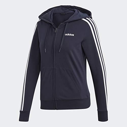 adidas Damen Essentials 3-Streifen Hoodie, Damen, Jacke, Essentials 3-Stripes Single Jersey Full-Zip Hoodie, Tinte / Weiß, Medium
