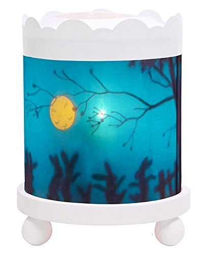 Trousselier - Schattenspiel - Nachtlicht - Magisches Karussell - Ideales Geburtsgeschenk - Farbe Holz weiß - animierte Bilder - beruhigendes Licht - 12V 10W Glühbirne inklusive - EU Stecker