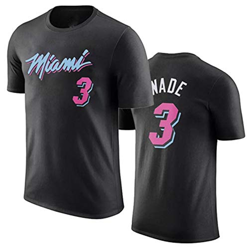 Shelfin Veste De Basketball en Coton Rose WADE3 T-Shirt Manches Courtes NBA Miami Heat Wade for Hommes, Version Urbaine (Color : Black, Size : M)