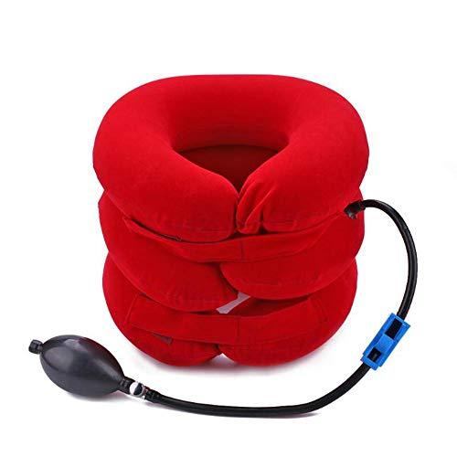 Nackenmassage 3-lagiger luftaufblasbarer Wirbel-Retraktor Nackenstütze Traktor-Behandlung Leichte Dehnung der Halswirbelsäule (Red)