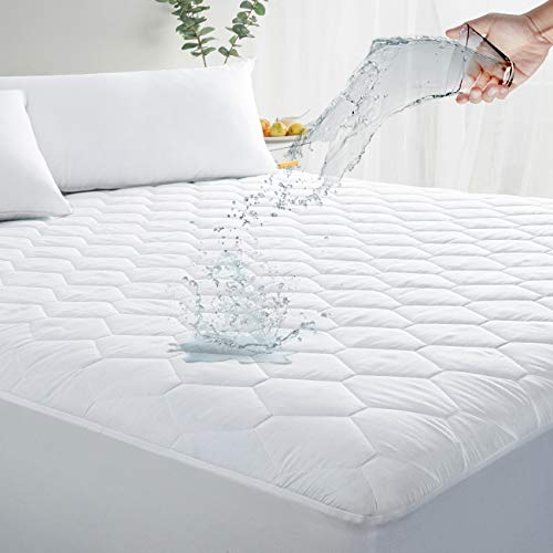 """MASVIS Queen Waterproof Mattress Pad Cover Stretches up 8-21"""" Deep Pocket - Hypoallergenic Fitted Quilted Cooling Mattress Protector"""