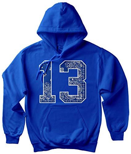 Men's Blue Bandana 13 Hoodie South Side Cholo Lowrider LA Crip Hooded Sweatshirt - Blue - XX-Large
