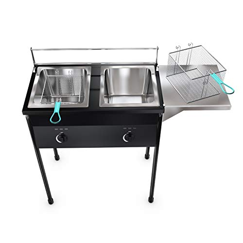 Bioexcel taco cart Outdoor Two Tank Deep Fryer compatible with Propane Gas Tanks, comes with 2 Baskets & Stainless Steel Oil Tank