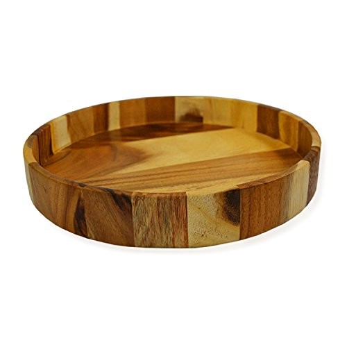 Wood Round Serving Tray, 12 Inch