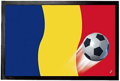 1art1 Fußball - Rumänien Länder-Flagge Fußmatte Innenbereich und Außenbereich | Design Türmatte 60 x 40 cm