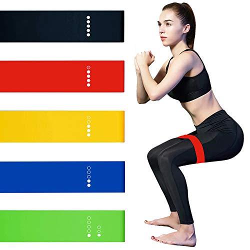 Bandas de resistencia, [Juego de 5] bandas de resistencia amigables con la piel, bandas de ejercicio con 5 diferentes niveles de resistencia